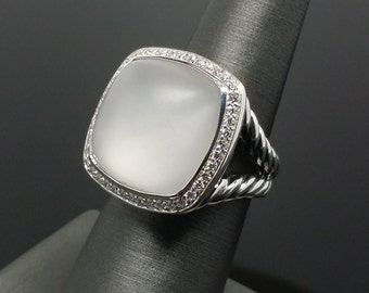 David Yurman 17mm Albion Ring Frosted Crystal and Diamonds Excellent SIZE 7