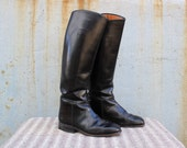 Vintage VTG VG 1960's 60's Equestrian Riding Boots Hand Crafted Tall Black Leather Women's Preppy Country Western Size 7 8