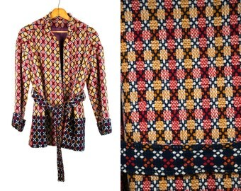 Vintage 1960's Wool Blanket Coat Women's Size Small Medium Fall Winter Wrap Retro/Boho/Hippie
