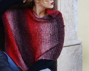 Handknit Red Poncho - Asymmetrical Striped Poncho With Earth Tones - Mohair Wool Poncho