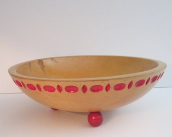Maple Munising Bowl with Red Design and Ball Foot - 11 Inch Diameter Wood Fruit Bowl