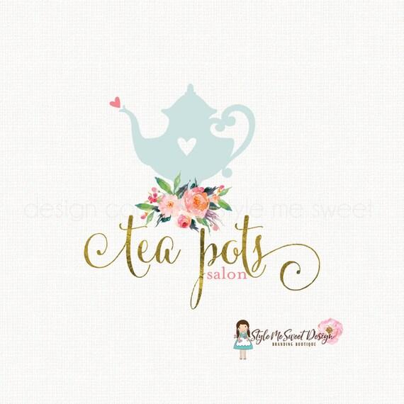 tea pot logo tea logo design tea cup logo watercolor flower