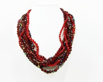 Multi Strand Red Bead Necklace, Aurora Borealis Coating, Adjustable Necklace, 21 Inch, Vintage Jewelry, Torsade Necklace