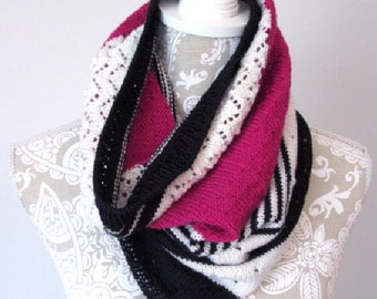 Black, Pink and White Cowl