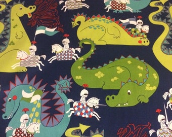 Alexander Henry - A Knight Meets Dragon - Quilting Cotton - Navy