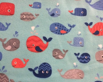 Blue Whales  - Flannel Fabric - BTY