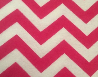 Hot Pink Chevrons  - FLANNEL Fabric BTY