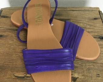 40% OFF Vintage 1980s Purple Vegan Leather Flats Sandals Slides Gitano 7