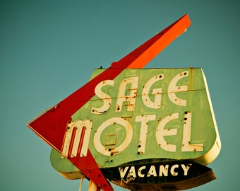 Sage Motel Neon Sign Photo - Route 66 Needles - Mid Century Modern Decor - Fine Art