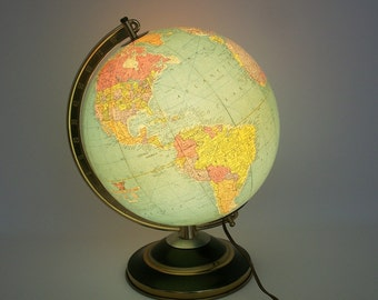 "Vintage 1949 Illuminated World Globe - Replogle 10"" Glass Library Globe - Like New"