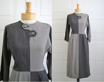 1940s Gray Color Block Dress
