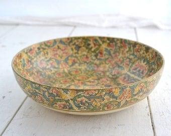 1960s Florentine Papier Mache Floral Shallow Bowl