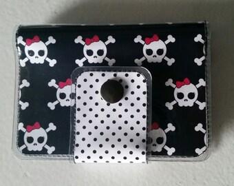 Cash/Card Wallet - Skulls/Walla Wallat, rocker, christmas, gift, steampunk, pink, black, ID case, card/cash case, vinyl wallet, snap wallet