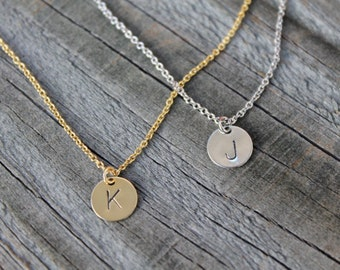 1 Delicate Disc Initial Necklace, Silver Gold Letter Necklace, Gold Necklace, Bridesmaid Gift, Dainty Monogram Charm