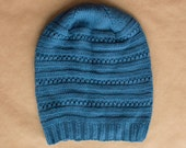 Knit Merino Wool Ladies Hat - Slouchy Royal Blue - Ready to ship
