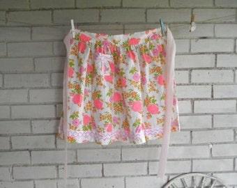 floral vintage apron cottage style apron cottage chic pink and white apron kitchen apron lacey apron ladies apron retro apron pinks