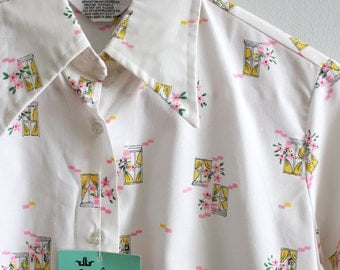 vintage 70s novelty print blouse - neon pink pastel floral top / windows & flowers - wide pointy collar shirt / Sweet Kawaii - new old stock