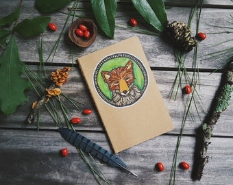 Little Fox Patch Moleskine Notebook Journal Handcarved Carved Hand Colored Carved Blockprint Woodland Nature Outdoors Camp Hiking Present