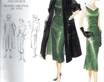 Vintage Vogue V1137 Original 1950s Designer Dress and Coat Sewing Pattern 1137 Size 8, 10, 12 and 14