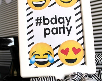 EMOJI Birthday party COLLECTION - CUSTOMIZED Birthday- Emoji Party - Emoji Sleepover - Social Media Party - Printable Party Pack Collection