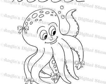 Octopus with Bows Digital Stamp Image