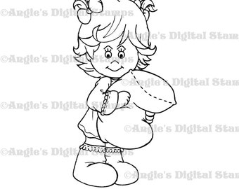 Little Lila With Pillow Digital Stamp Image