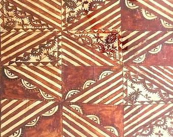 HOLD for Ten. Framed Vintage Tapa Cloth. Pacific Island - Figian, Samoan, New Zealand Bark Cloth. 1960s Siapo Mamanu. Tribal Art