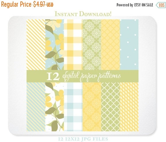 Yellow Floral Digital Pattern Paper & Backgrounds for Scrapbooking, Photographers, and Branding - French Picnic: Lemon INSTANT DOWNLOAD