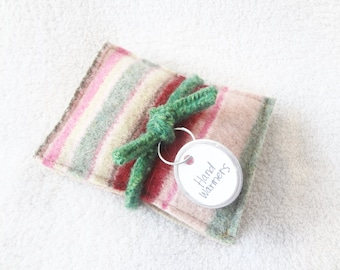 Hand Warmers PINK & GREEN STRIPES Felted Sweater Wool Rice Bags Reusable Handwarmers Pocket Hand Warmers Ecofriendly Gift by WormeWoole