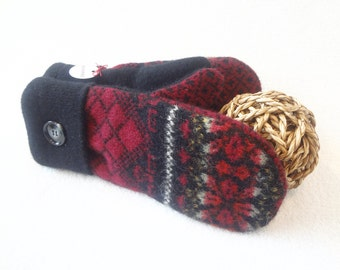Sweater Wool Mittens CRANBERRY RED and BLACK Nordic / Fair Isle Eco-Friendly Wool Mittens Fleece Lined Gloves Eco Gift Under 50 WormeWoole