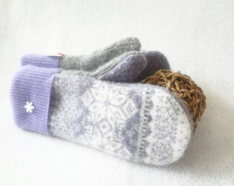 Wool Mittens PURPLE & GRAY Grey Fair Isle Felted Sweater Wool Mitts Fleece Lined Gloves Eco Gift Under 50 for Women by WormeWoole