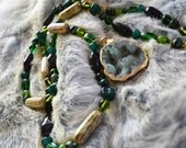 HOLD MARG Druzy with Glass Beads Necklace Moss Green  Hippie Festival Burning Man Boho