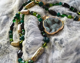Druzy with Glass Beads Necklace Moss Green  Hippie Festival Burning Man Boho