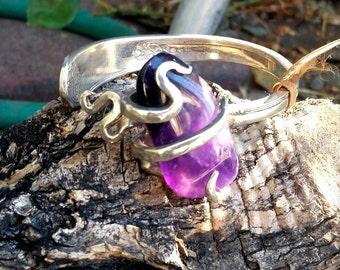 Amethyst cuff bracelet- amethyst - purple  - antique - vintage-metalwork- cuff