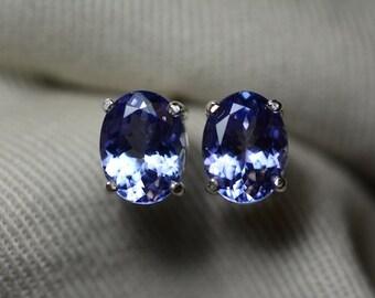 Tanzanite Earrings, Natural Tanzanite Stud Earrings 2.88 Carats Appraised at 1584.00 Sterling Silver Blue Tanzanite Jewellery