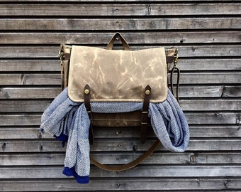 Satchel in waxed canvas / Musette / bicycle handle bar bag / messenger bag in waxed canvas UNISEX