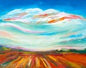 Fields in Aviel. Contemporary abstract sky. Original oil painting on canvas 50/70 cm. Impasto. Nature.