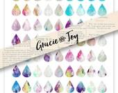 Teardrop, 18 x 25, boho, geometric, digital download, pattern, gracie and joy, cabochon,watercolor