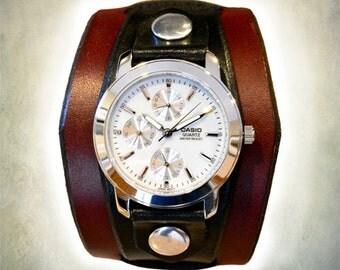 Men's Casio Leather Cuff Watch