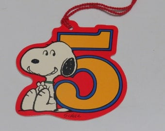One Large Vintage Hallmark Snoopy Gift Tag Unused ~ 5 Years Old ~ and More!