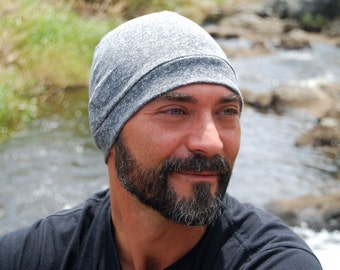 Men's Beanie Hat - Unisex - Storm Gray - Organic Cotton Hemp Jersey - Eco Friendly - Organic Clothing