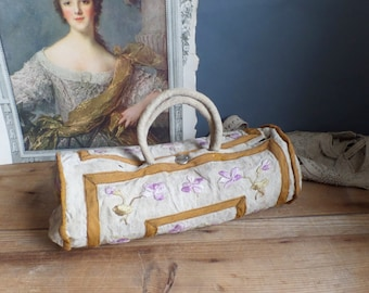 Old French handmade linen hemp bag with violets embroideries sewing bag from the 1900
