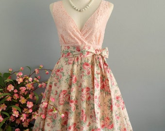 My lady II - Spring Summer Sundress Pink Lace Top Peach Floral Skirt Pink Floral Bridesmaid Dress Floral Party Dress Pink Tea Dress XS-XL
