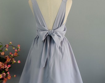 A Party V Backless Dress White Gray Dress Light Gray Backless Party Dress Prom Dress White Gray Wedding Bridesmaid Dress Bow Dress XS-XL