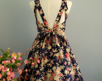 Navy dress navy floral dress floral party dress backless dress navy bridesmaid dresses bow back dress floral bridesmaid dresses