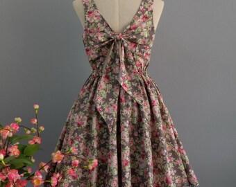 A Party V - Lolita Dress Sweet Lolita Backless Dress Bow Back Floral Dress Party Dress Wedding Bridesmaid Dress Summer Sundress XS-XL