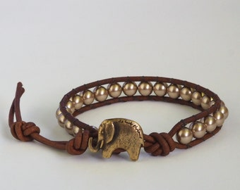 Swarovski Crystal Pearl Lucky Elephant Button Leather Wrap Bracelet- the Lucky Elephant Exclusive