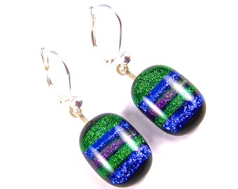 Dichroic Earrings - Striped Emerald Green Bright Blue Purple Violet Skinny Rainbow - EuroWire Lever Leverback Dangle or Convert to Clip-On