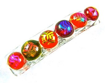 """Dichroic Barrette - Ruby Red Cranberry Metallic Blue Green Gold Pink Orange Dots Patterned Chunky Bumps Fused Glass - Small 2.5"""" / 65mm"""