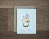 Happy Birthday card - birthday cupcake - illustration - foil stamp - hand lettering